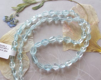 "Aquamarine Faceted Oval Nugget Beads ~ 16"" Strand ~ Graduated Size ~ 4mm-8mm"