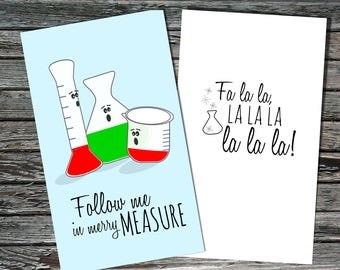 Mini Science Holiday / Christmas Cards Set Of 12 | Merry Measure Singing  Glassware | Biology