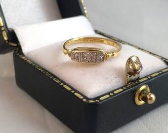 18ct Yellow Gold & Platinum Art Deco Diamond Trilogy Ring SIZE J