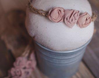 simple rosette blush - tieback - newborn prop