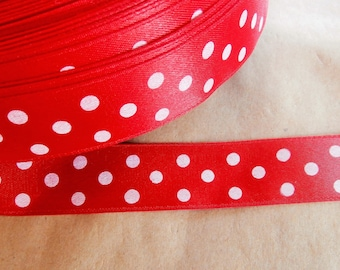Ribbon with large polka dots, red and white (ref 932 09 67)