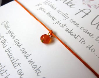 Wish Bracelet - Carnelian / Gemstone Wish Bracelet / Carnelian Bracelet / Birthstone Bracelet / Healing Gift / Subtle Jewellery / Wish Knots