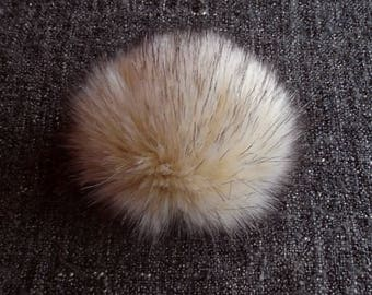 Size L, (Ecru - dark tips) faux fur pom pom 5.5 inches/14 cm