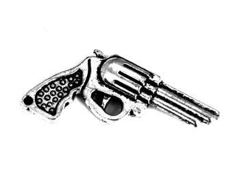 1 pistol revolver gun charm silver steampunk 40x20mm