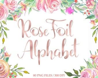 Rose gold foil alphabet clip art, digital rose alphabet, rose gold foil hand lettering, fancy letters, numbers, download