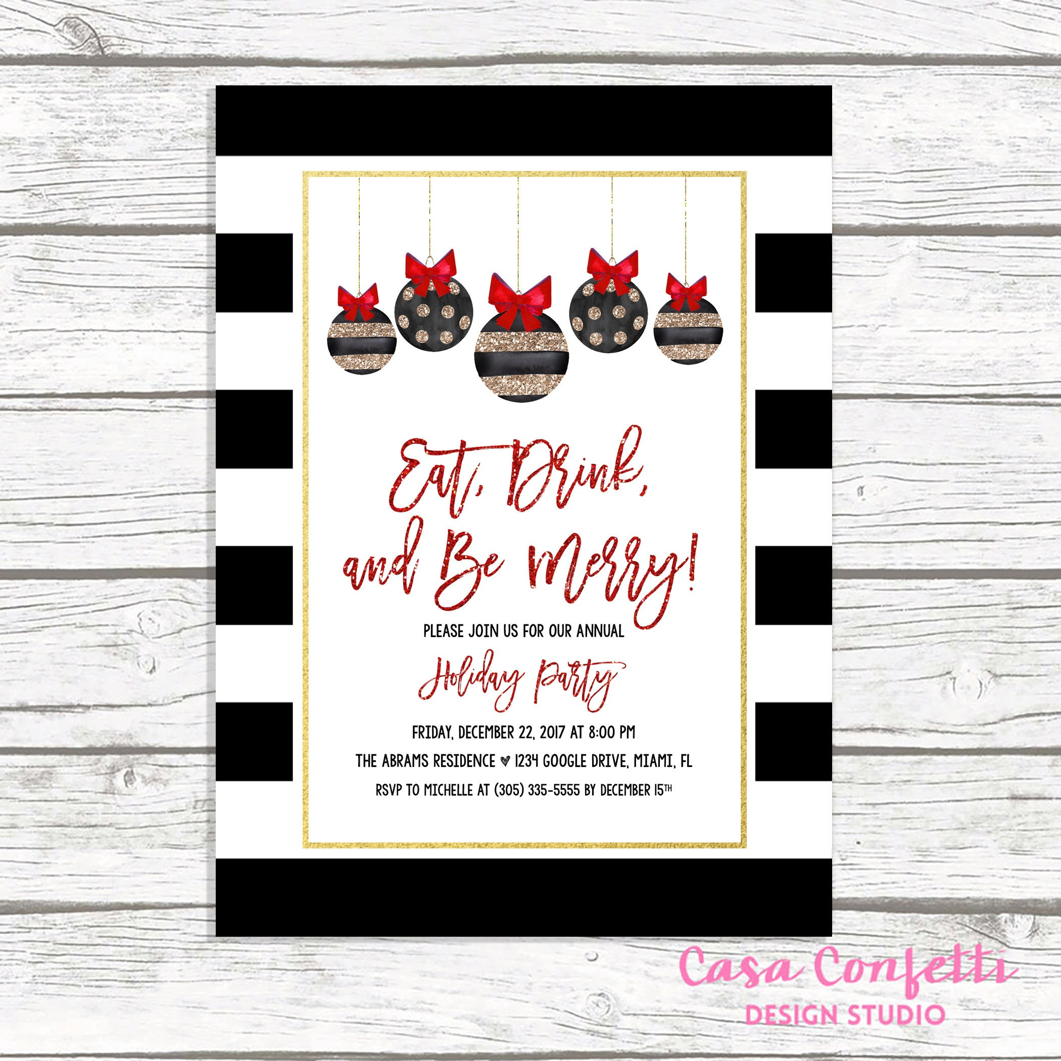 Black and White Christmas Party Invitation Ornament Holiday