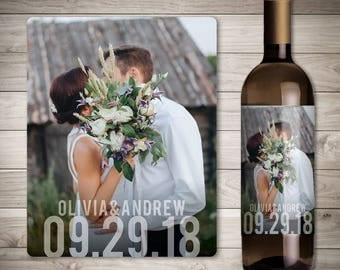 Photo Wedding Wine Label - Custom Wine Label - Personalized Wine Label - Wedding Wine Bottle Label - Wedding Decoration