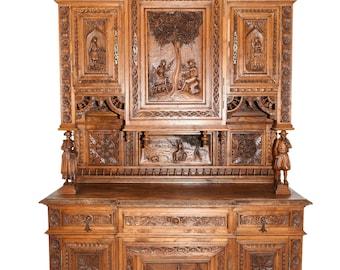 Antique French Breton Cabinet, Large, Exceptional Quality & Detail, Oak, 1900's #8650