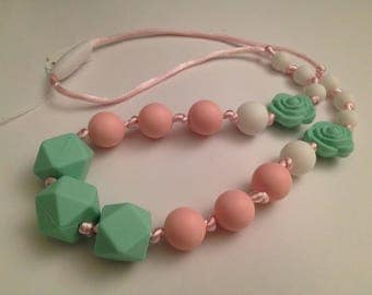 127 - Mint-pink women necklace