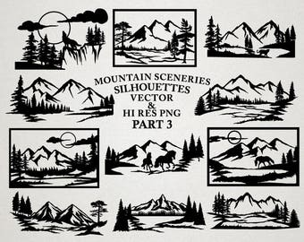 Mountain Scenery SVG Cut Files - Mountain Scenery Silhouette SVG Cut Files Mountain svg dxf eps png - Silhouette Cricut Transfer & other