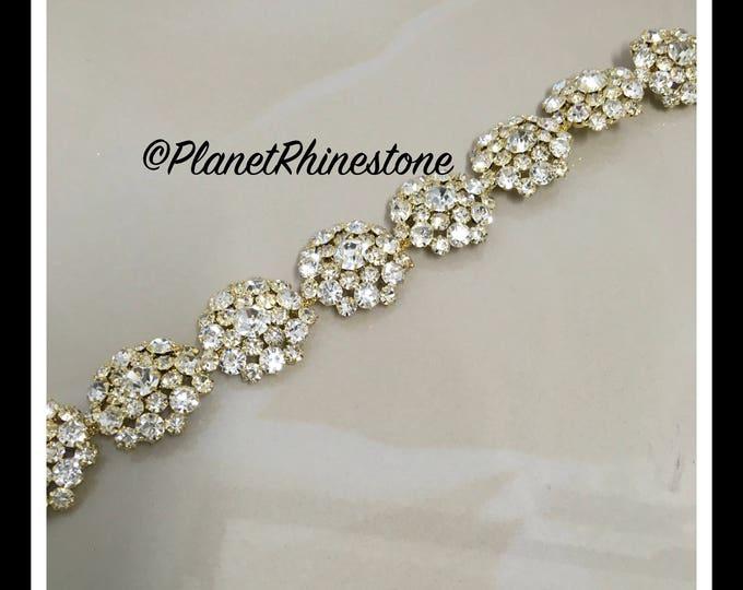 1 yard  Large Flower Rhinestone Trim (Silver, Rose Gold, Gold) #T-6