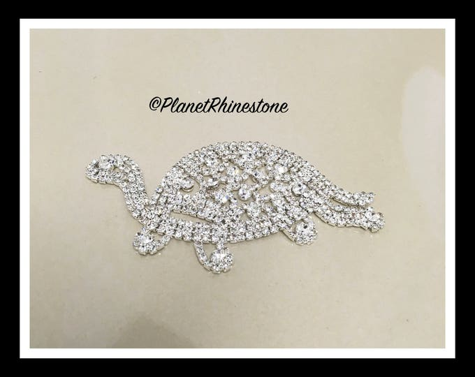 Rhinestone Turtle - Side Turtle -  Rhinestone Animal #AF-1