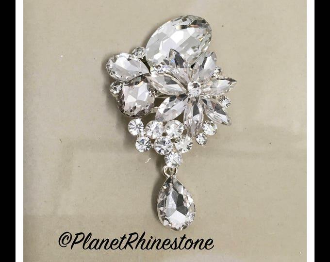Silver Dangling Crystal Rhinestone Brooch #B-11