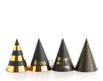 New Years Eve Party Hats Happy New Year NYE 2018 New Years Hats Black and Gold NYE Party NYE Decor Party Hats for New Years Eve Gold Foil