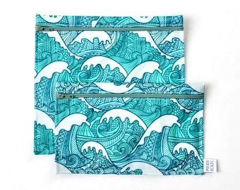 Sacs à sandwich et collation réutilisables - Vagues - Reusable bags - 1 snack bag 1 sandwich bag - Waves