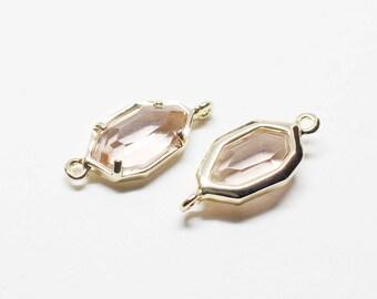 G0029/Light Peach/Gold plated over brass/Unbalanced Octagon Glass Pendant Connector/6x15.5mm/2pcs