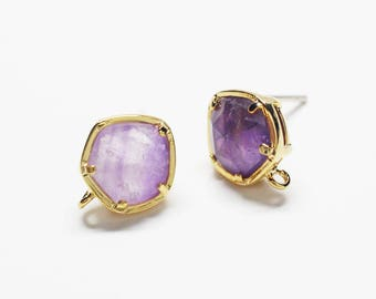 E0205/Anti-Tarnished Gold Plating Over Brass+Amethyst Gemstone/Bazeled Faceted Pentagon Amethyst Gemstone Earrings/9.7X11.8mm/2pcs