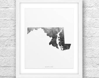 Maryland Map, Maryland Printable, Maryland Art, Maryland Map Art, Maryland Printable Art, Instant Download, Maryland Wall Art, Maryland 8x10