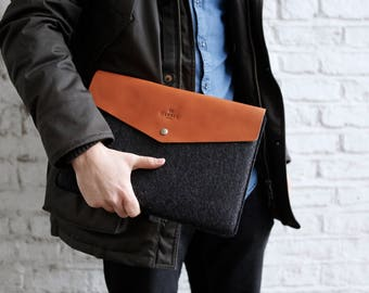 "MacBook Air 13"" Case Felt and Leather, Envelope 13"" MacBook Air Leather Sleeve Case and Wool Felt Laptop Cover Handmade"