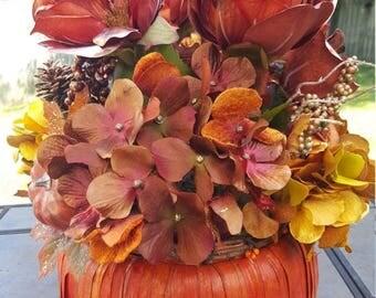 ON SALE Fall floral arrangement,Pumpkin centerpiece,Fall centerpiece,Fall arrangement,Fall wedding centerpiece, Pumpkin arrangement
