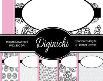 Pink, Black, White 03 - Digital Covers for Goodnotes Digital Planners and Journals - PNG & Printable