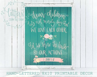 Bible Verse Printable, Love Bible Verse, Hand-Lettered Bible Verse, Scripture Printable, Bible Home Decor, Digital Download, Printable