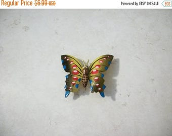 ON SALE Vintage Colorful Enameled Butterfly Pin 62317
