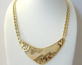 ON SALE Vintage Gold Tone Enameled Panel Necklace 9517