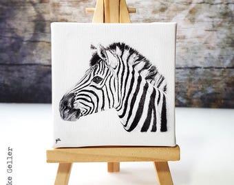 Mini Canvas Giclée Print with Easel - Handmade - Zebra Wildlife Portrait Africa, drawing artwork by Fleurdoodles Maike Geller