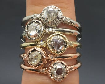14K White Gold Old Rose Cut Diamond Victorian Engagement Ring - 14K Vintage Inspired Rose Cut Diamond Ring - Antique Rose Cut Promise Ring