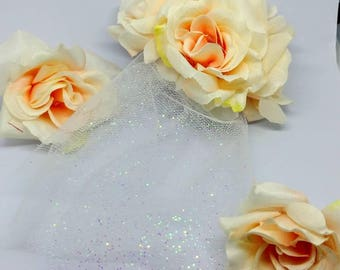 Clip In Decorative Bridal Piece with Small Veil
