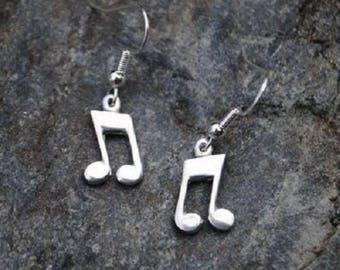 Music Note Pewter Earrings