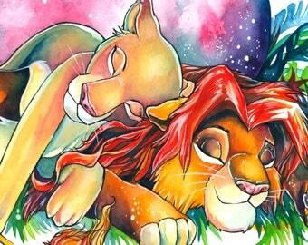 A3 Print ~ Simba and Nala from the Lion King