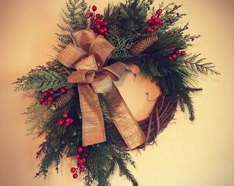 Rustic Christmas Wreath Front Door Sign Floral Arrangement
