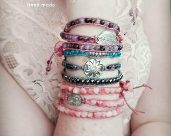 triple wrap bracelet, Leather wrap Bracelet, Boho wrap Bracelet, Boho bracelet, Silver bracelet, Silver boho wrap bracelet, Leave silver