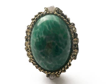 Mottled Green Adjustable Ring