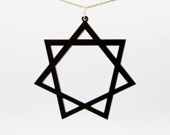 Heptagram pendant etsy heptagram acrylic pendant on silver plated chain necklace occult goth satanic septagram septegram septogram aloadofball Choice Image