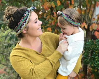 Mommy and Me Headbands / Baby Headband / Baby Top Knots / Aztec Headbands / Mommy and Me Aztec Headbands / Top Knots / Aztec Top Knot