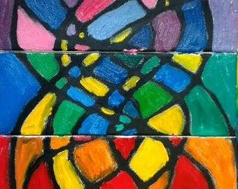Rainbow mosaic tryptich original oil painting