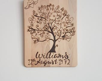 Wooden Family Tree - Hand Pyrographed