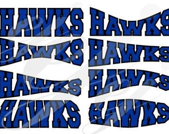 Central High School Hawks Curved Layouts SVG EPS DXF Digital Cutting Design- Instant Download-  jpg pdf Vector File Graphic Design