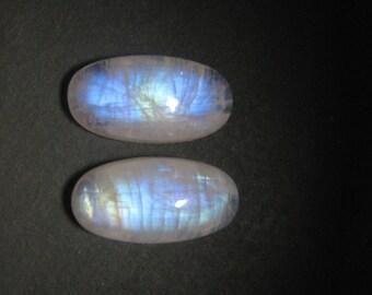 Natural Rainbow moonstone cabochons Oval shape 2 piece loose semi precious gemstone size 8 x 16 mm code 9443 Rainbow Flashy