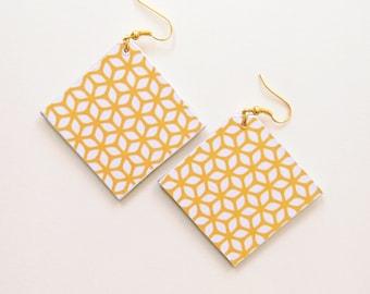 Large earrings, mustard yellow earrings, yellow mutard earrings, geometric earrings, bohemian earrings