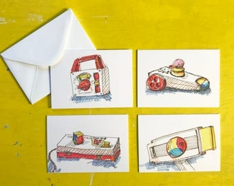 Vintage Toy Fisher Price Ilustrated note cards, set of 4