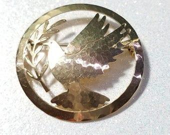Vintage Goldtone Dove Pin Brooch