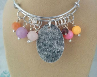 Charm Bracelet, Textured, Adjustable Bangle, Aluminium, Beads, Gift for Her,