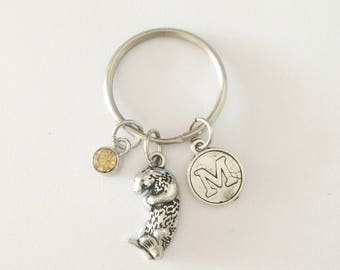 Otter keychain - personalized keychain - initial keychain - friendship keychain - best friend gift - Christmas gift