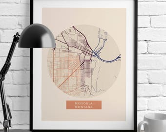 Map Prints - Missoula Montana - Minimalist Poster - Romantic Wall Art - Montana Map - City Maps - Home Decor - Art Prints - Wall Decor