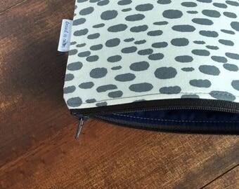Gray Polka Dot Spots Zipper Bag with Navy Blue Lining, Zipper Pouch, Brown Zipper