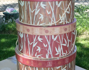 Set of 3 hatboxes/storage containers; like new condition; Feng Shui; Chinese bamboo & characters; love, luck, happines; sturdy storage